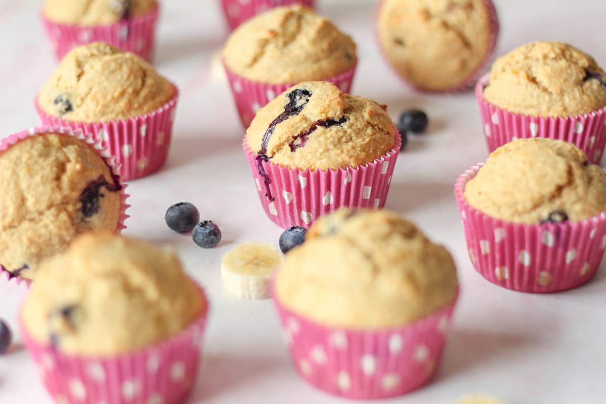 Healthy Banana Bran Muffins with Blueberries