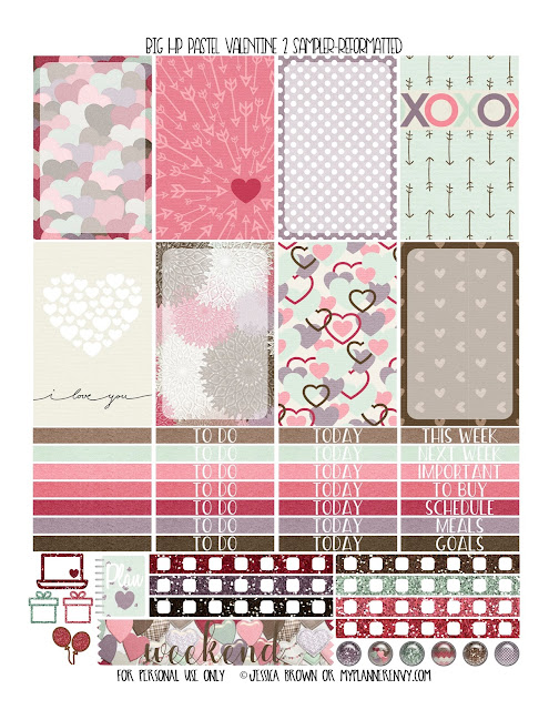 Free Printable Pastel Valentine 2 Sampler for the Big Happy Planner from myplannerenvy.com