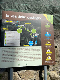 "Description of ""La via delle castagne"" and the stops from Zogno to Poscante."