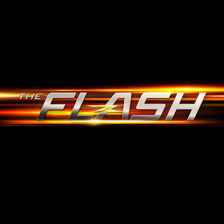 The Flash TV logo, metallic writing on a whizzy yellow/orange background with a lightning strike