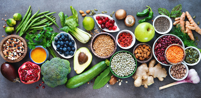 A varied assortment of fruits and vegetables.