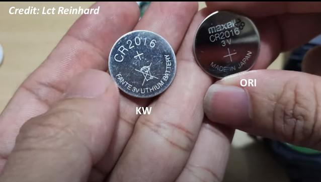 Baterai Maxell jam asli dan baterai KW