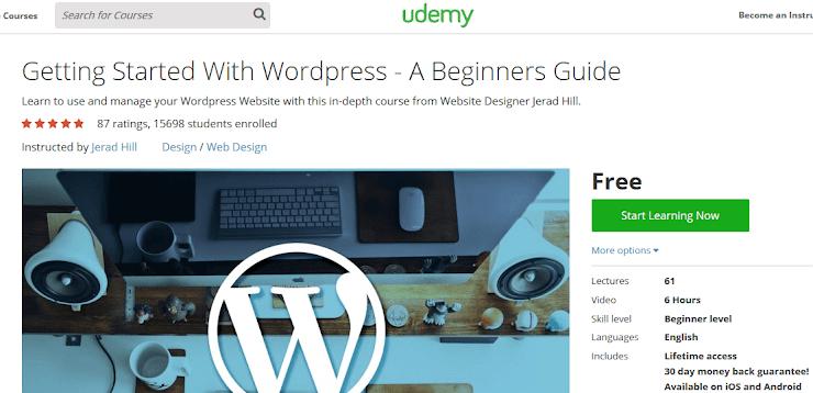 Free WordPress course on Udemy