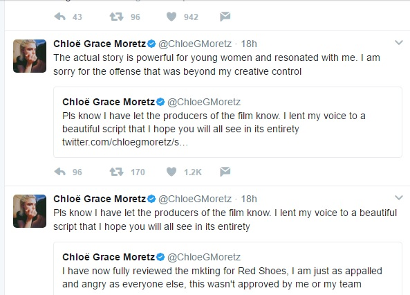 Chloe Grace's Twits Addressing the Fat-shaming Issue of Red Shoes and 7 Dwarfs Movie