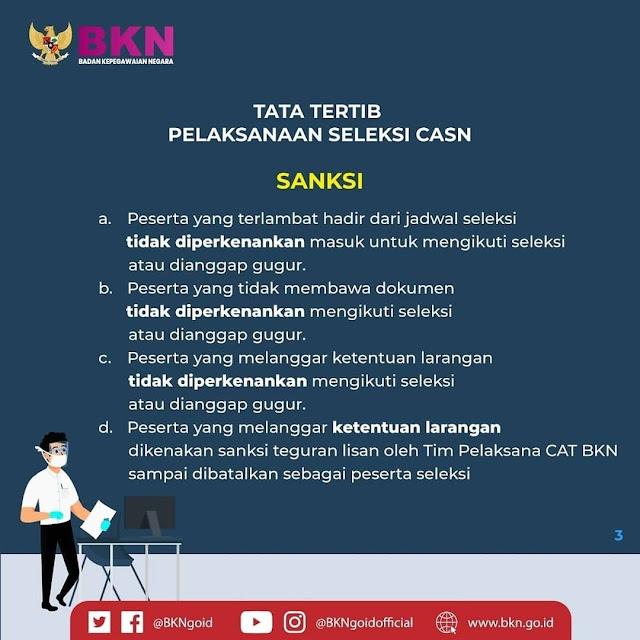 Tata Tertib Pelaksanaan Seleksi CASN : CPNS PPPK Sekolah Kedinasan