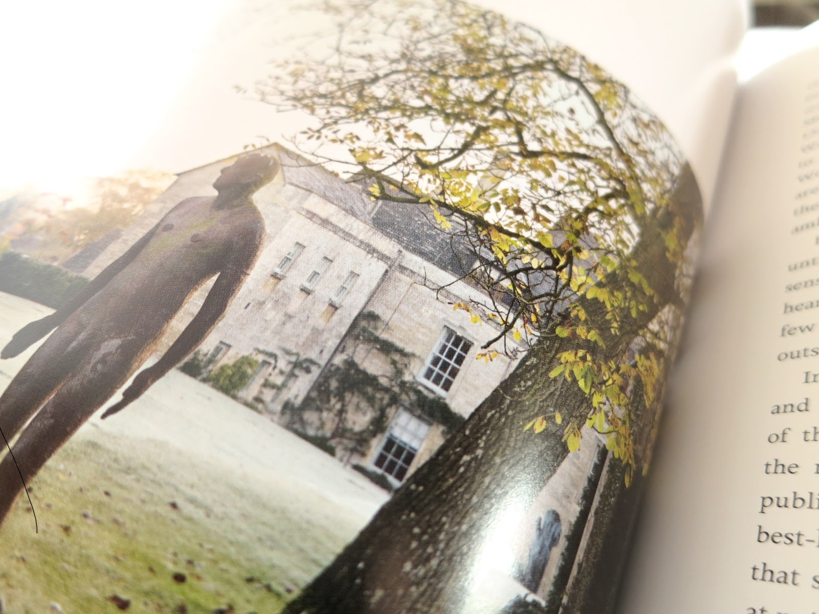 Loose and Leafy photo of sculpture by and of Antony Gormley from p.41 in Secret Gardens of the Cotswolds