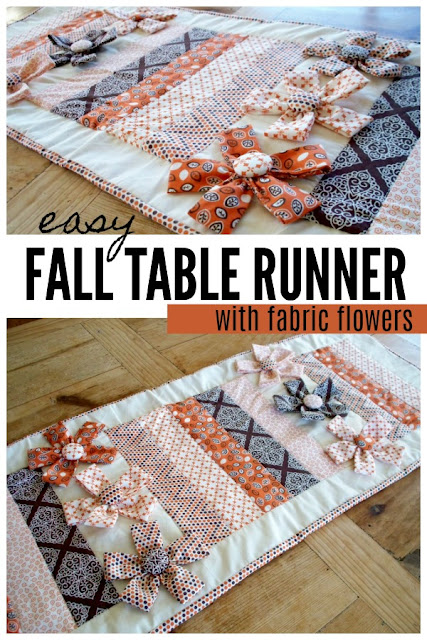 easy fall table runner with fabric flowers