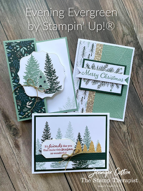 3 Christmas cards using Stampin' Up!®'s Evergreen Elegance Bundle.  I also used the Be Dazzling Sale a Bration Specialty Paper, Tidings of Christmas designer series paper, Hippo & Friends Dies, Wintry embossing folder, and the Gold & Rose Gold 6x6 Metallic Specialty Paper.  Video, supply list, and measurements on the blog.   Click the photo to go to the blog post!  #StampinUp #StampTherapist #EvergreenElegance