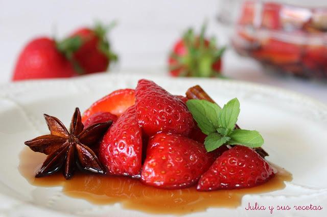 Fresas con jarabe de balsámico. Julia y sus recetas
