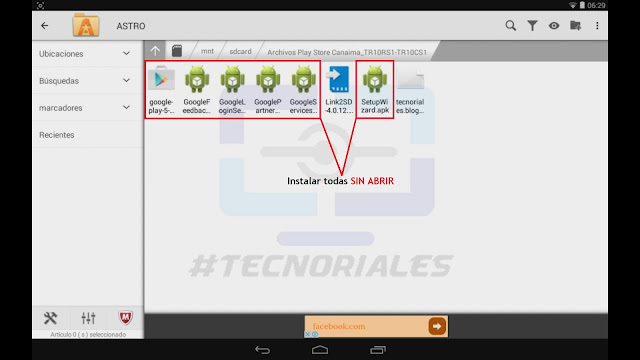 Instalando Google play de dependencias en la tablet canaima.