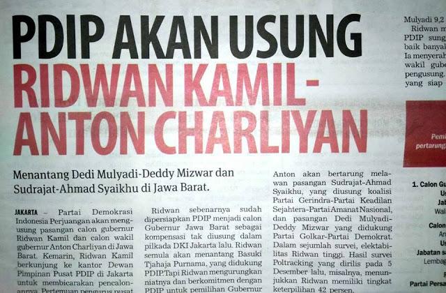 Sesuai Prediksi! PDIP akan Usung Ridwan Kamil-Anton Charliyan