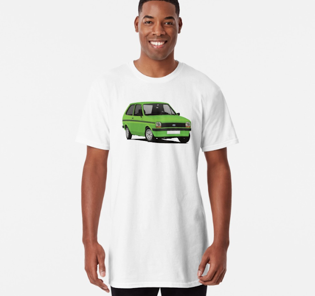 Classic Ford Fiesta Mk1 T-shirts - green with stripes
