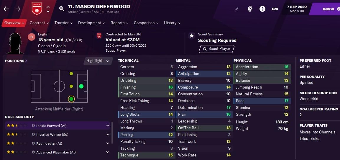 Mason Greenwood: Starting Attributes in FM2021