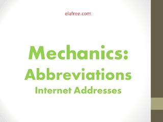 Mechanics: Abbreviations - Internet Addresses