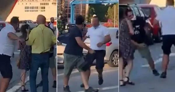 Αδιανόητη επίθεση κάμεραμαν του ΣΚΑΪ - Επιτέθηκε σε πολίτη στο λιμάνι του Πειραιά (βίντεο)