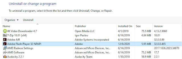 Uninstall Program Control Panel Windows 10 Adobe Flash Player AIR version 32