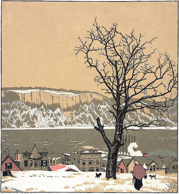 Rudolph Ruzicka, a woman walking dogs at a tree in winter