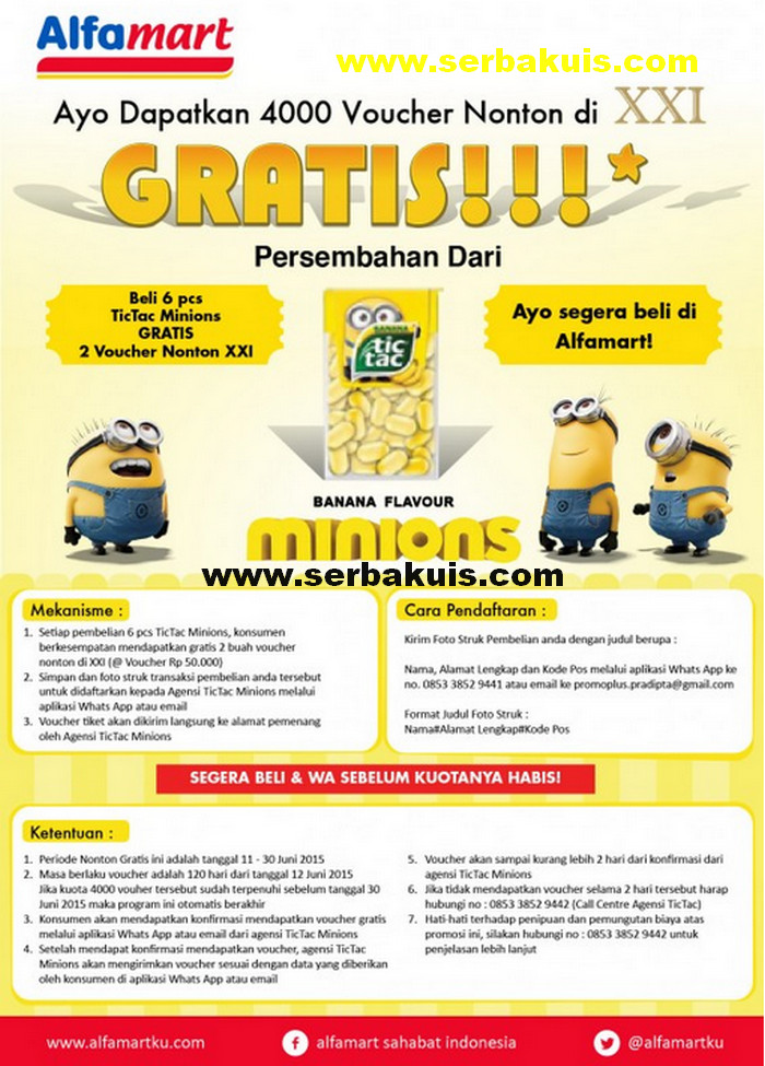 Promo TicTac Minions Berhadiah 4000 Voucher Nonton XXI