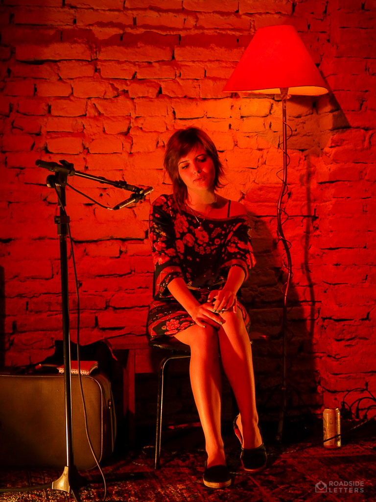 Girl singing in a project Massimiliano Blues at Coletivo Munaya in Pelotas, Brazil