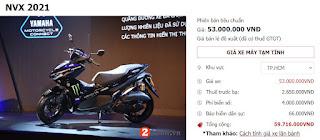 Gía Xe Máy Yamaha NVX 155 Mới Nhất Tháng 9/2021