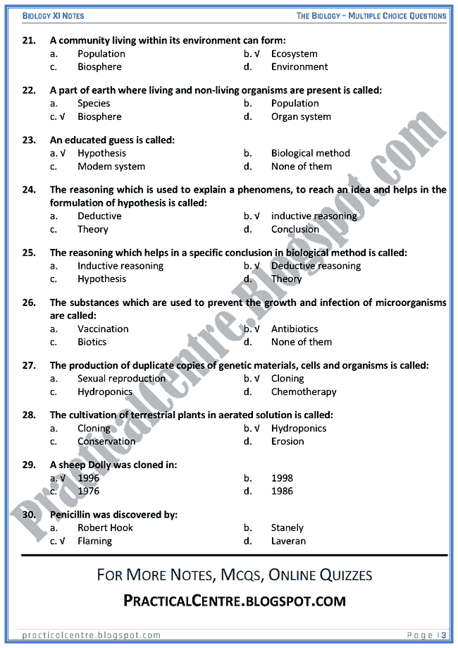 The Biology - Multiple Choice Questions (MCQs) - Biology XI