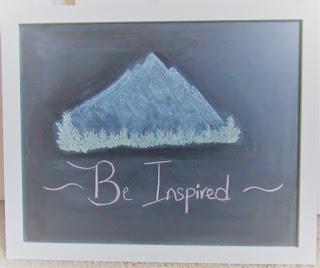 chalk drawing bob ross inspired mountain