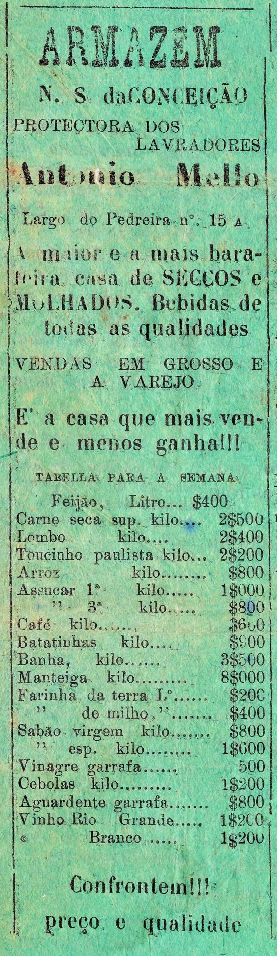 Propaganda antiga do Armazém N. S da Conceição veiculada em 1932 na cidade de Paraty-RJ