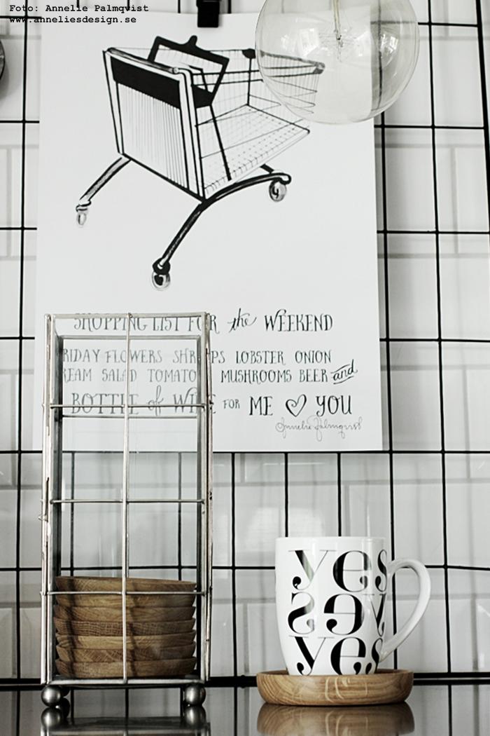 hemtex, loppis, loppisfynd, gammal etikett, grafisk mugg, grafiska, grafiskt, muggar, yes, svart och vitt, svartvit, svartvita, annelies design, webbutik, webbutiker, webshop, inredning, kök, köket, galler, nät, kompostgaller, konsttryck, shoppinglista, tavla, tavlor, poster, posters, print, prints, dekoration, upphängning,