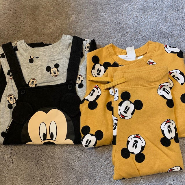 Mickey Mouse 2-piece set in yellow, and dungarees set with top