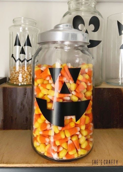 Pumpkin face candy jars - farmhouse Halloween