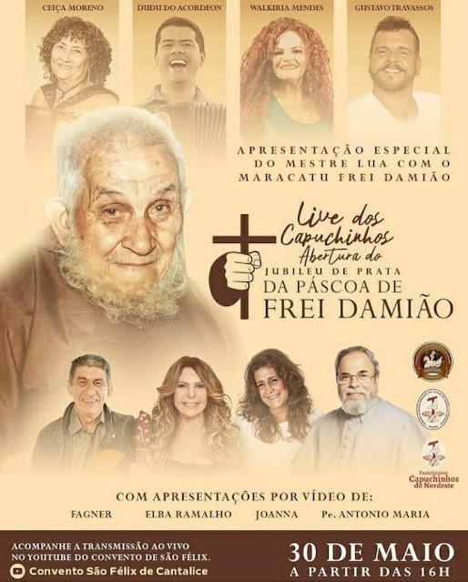 Convento São Félix de Cantalice realiza neste domingo(30), live em homenagem a Frei Damião