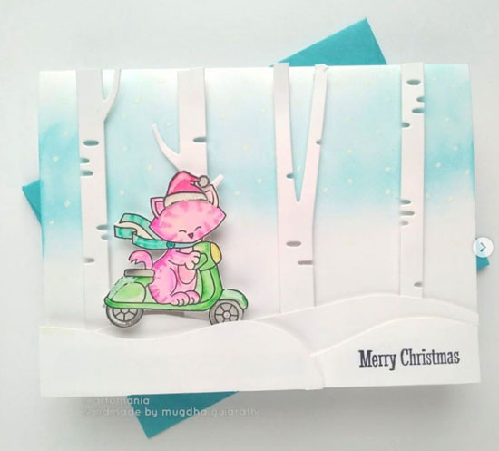 Winter card with scene and pink kitty by Mugdha | Newton Scoots By Stamp Set by Newton's Nook Designs #newtonsnook #handmade