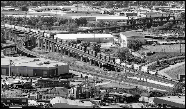 A stack train on the flyover at Santa Fe Junction in Kansas City.