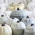 hand painted doily pumpkins