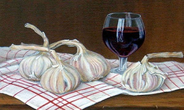 garlic, wine