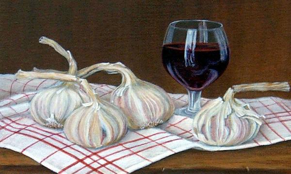 garlic, wine