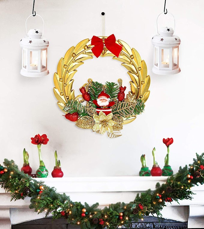 TIED RIBBONS Christmas Combo Wreath and Hanging White Lantern for Christmas House Decorations, Outdoor,Wall Hanging