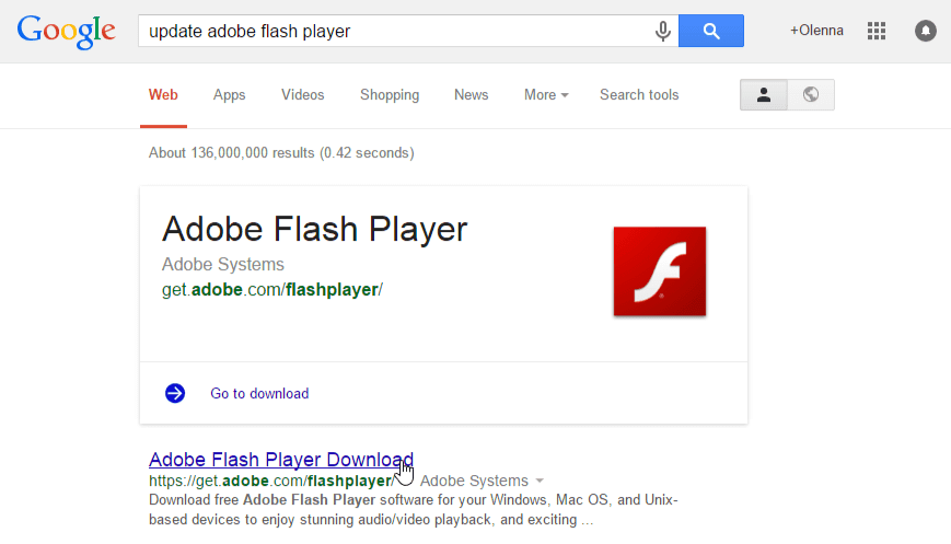 البحث عن تحديث لبرنامج Flash Player