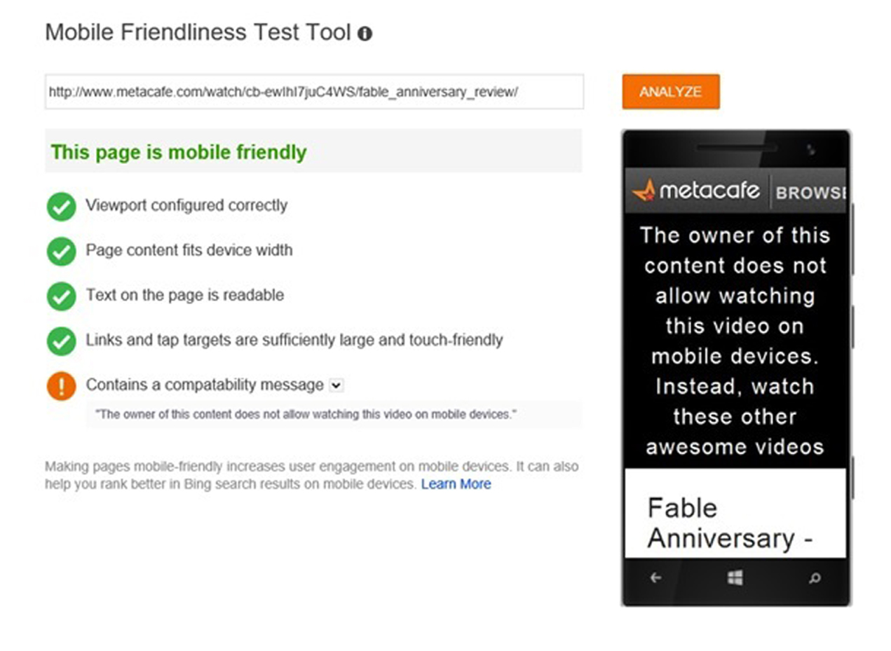 Bing Announces its Own Mobile Friendly Test Program 2