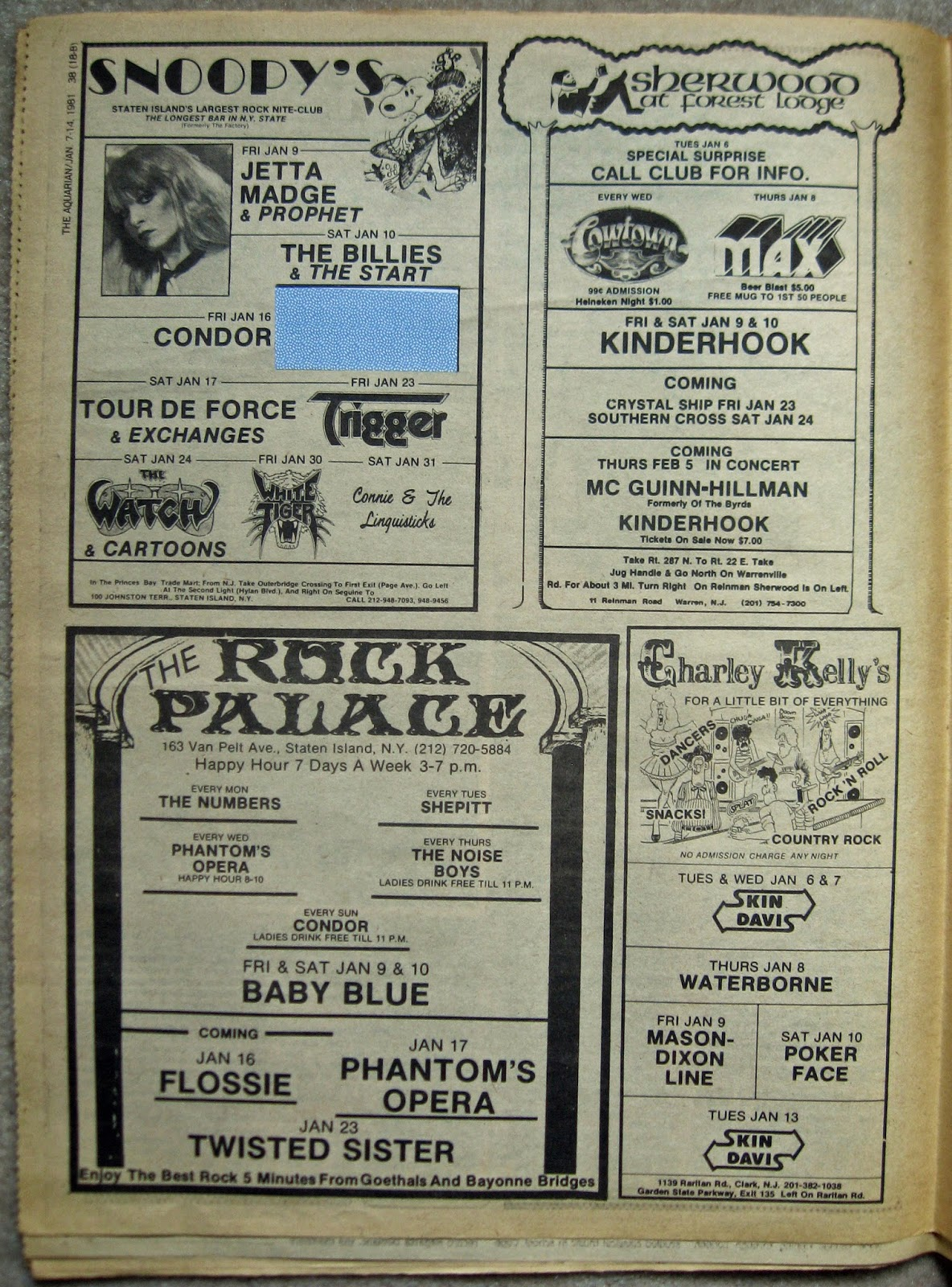 Snoopy's - The Rock Palace - Sherwood At Forest Lodge - Charley Kelly's band line ups January 1981