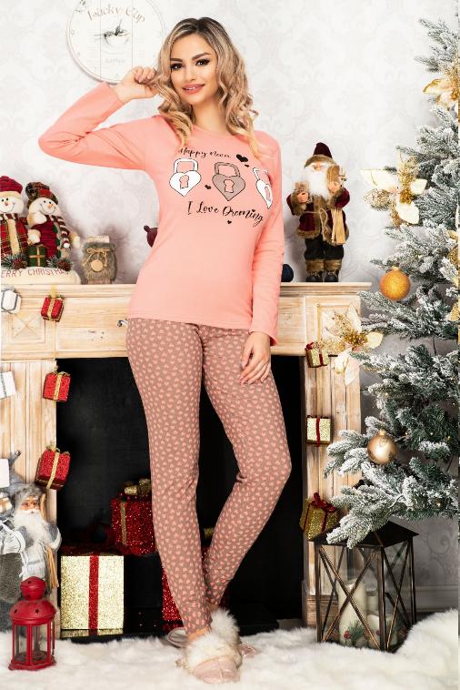 Pijama dama roz din bumbac cu imprimeu dragut