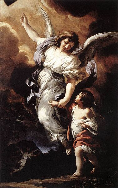 """Guardian Angel"", a traditional painting created in 1656 by Pietro da Cortona, image public domain via Wikipedia."