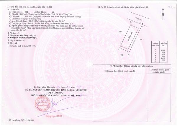 giấy tờ quyền sử dụng đất tại dự án PrinCess Villas Hồ Tràm (mặt trong)