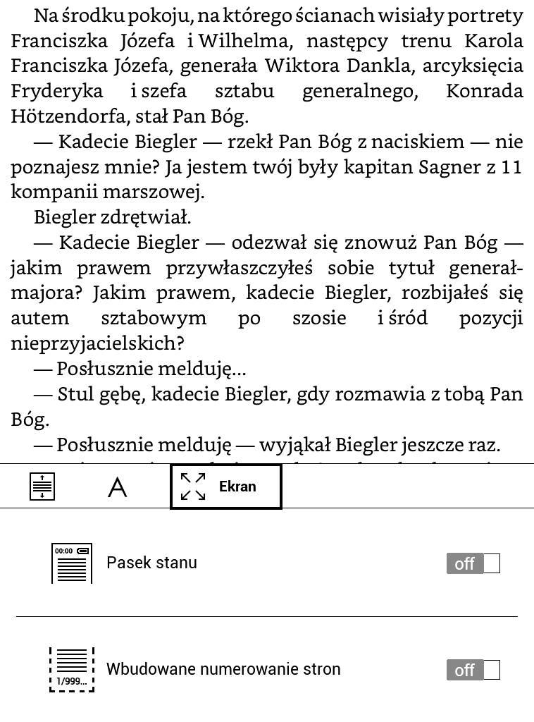 Ustawienia e-booka w PocketBook Basic Lux 2 pozwalają na wyłączenie numeracji stron i paska systemowego