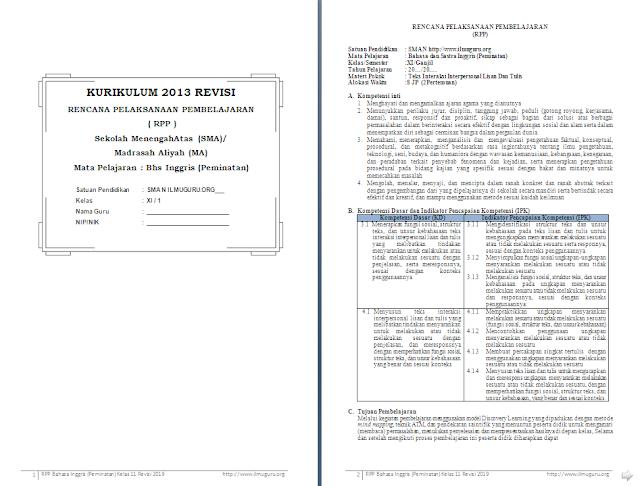 RPP 1 Lembar Bahasa Inggris Peminatan Kelas 11 SMA/MA Semester 1