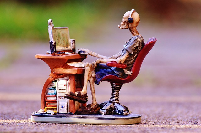 Skeleton In a Desk Chair, Surfing the Web