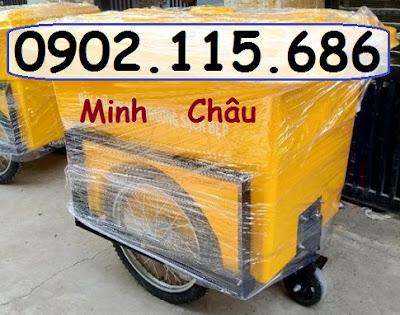 xe rac 3 banh hoi 660l co khung gia co - Xe gom rác 660l 3 bánh hơi, Xe gom rác 660L nhựa composite, Xe chở rác 660L 3 bánh, Xe rác 660L nhựa 3 bánh,