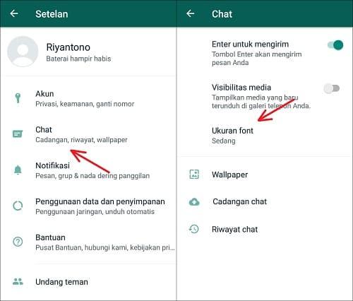 Ubah Ukuran Font di WhatsApp