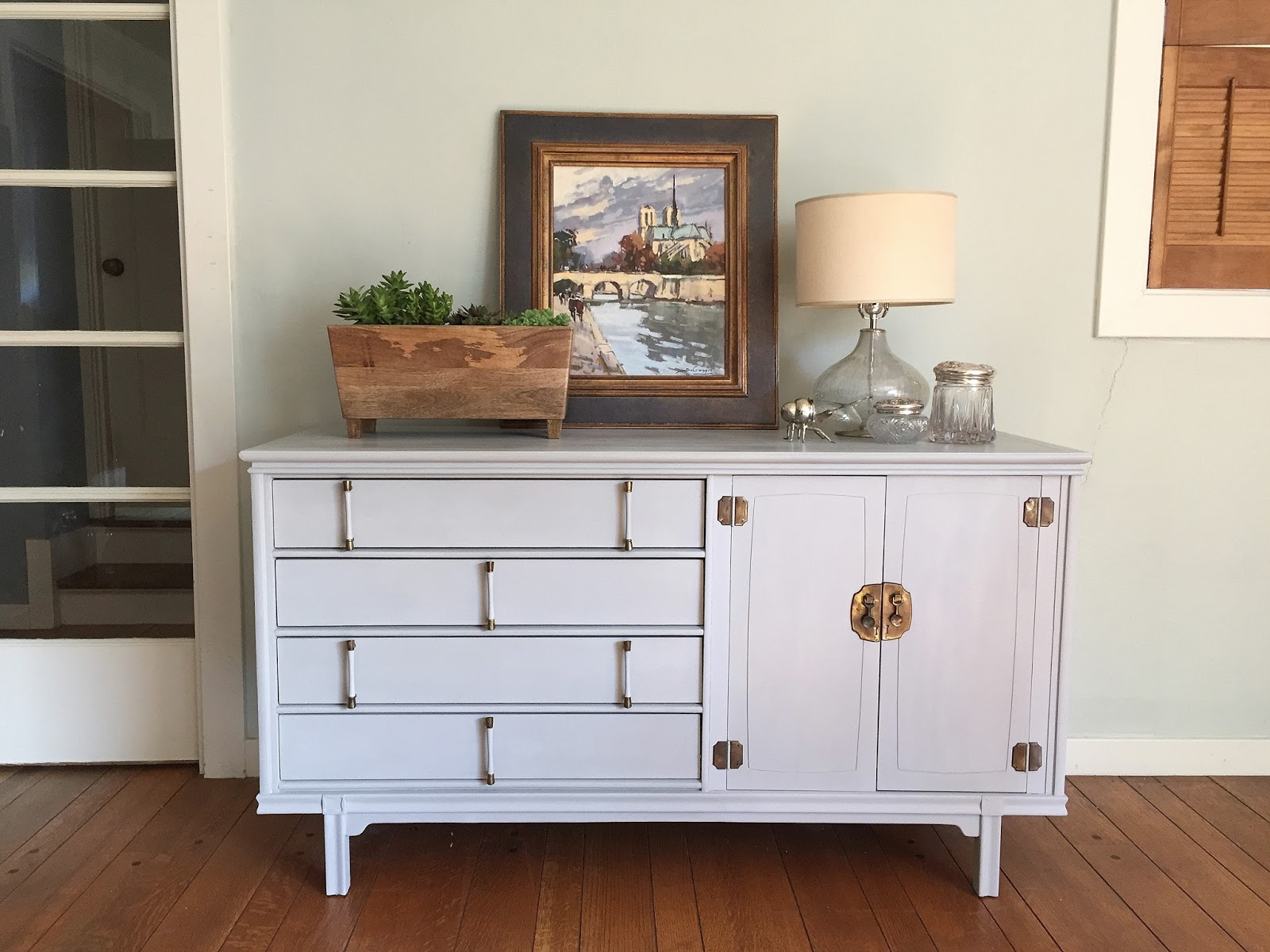 mid century modern buffet painted in paris grey barnaclebutt. Black Bedroom Furniture Sets. Home Design Ideas