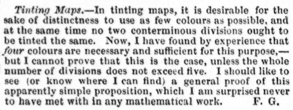 d9a182c8bf27 De Morgan ripropose la questione sullo stesso periodico nel 1860. Un  ulteriore precoce riferimento alla questione fu fatto nel 1879 da Arthur  Cayley